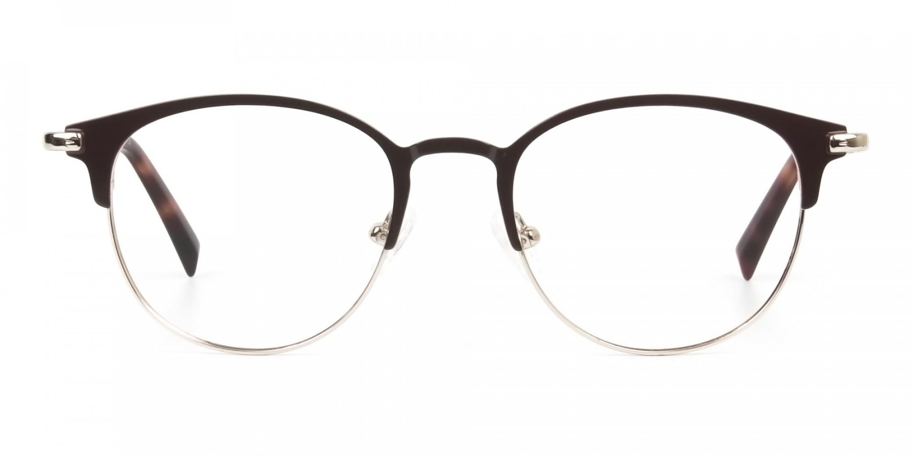 Brown & Gold Keyhole Browline Glasses in Round - 1