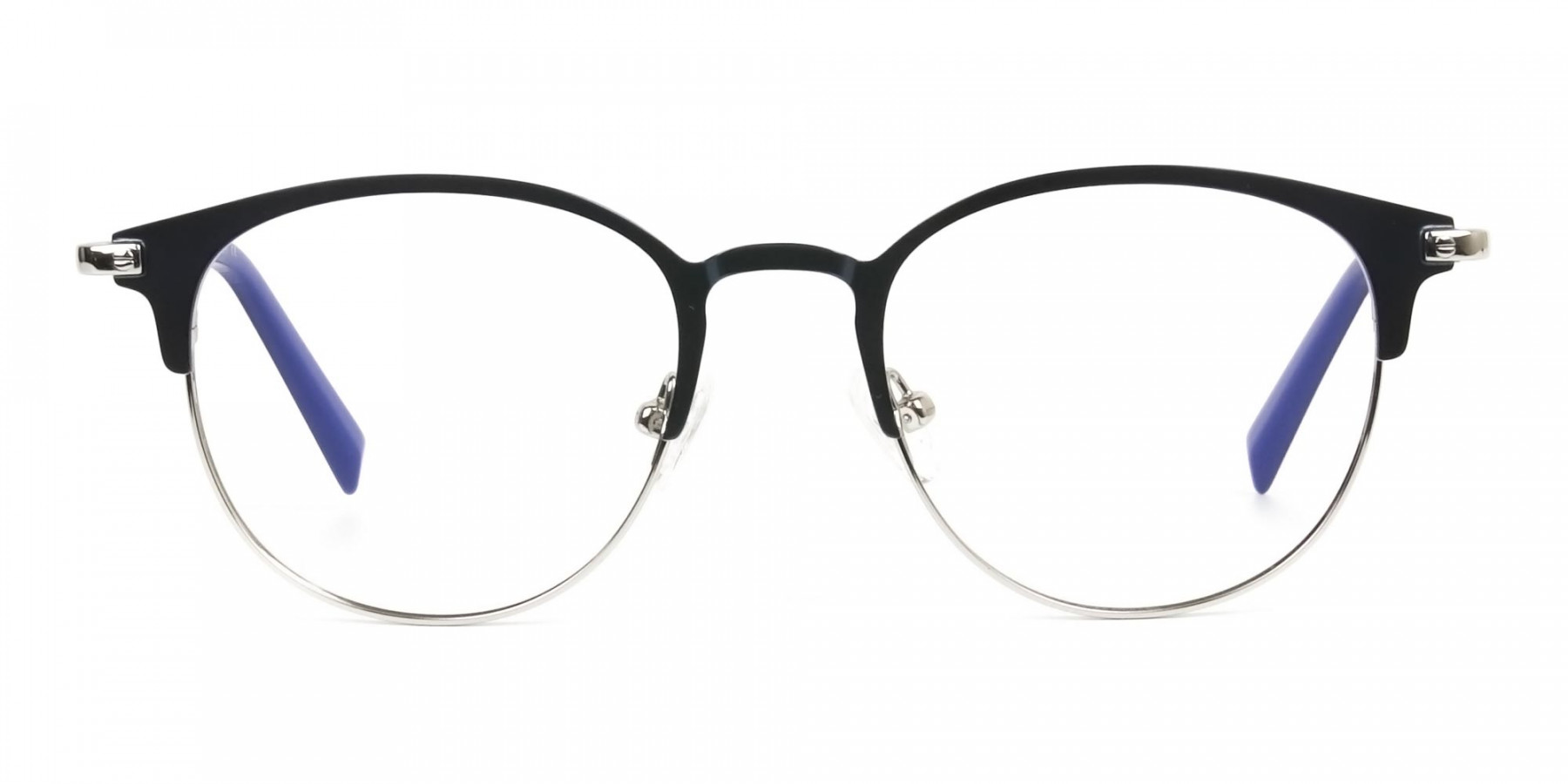 Keyhole Silver Navy Blue Browline Glasses in Round - 1