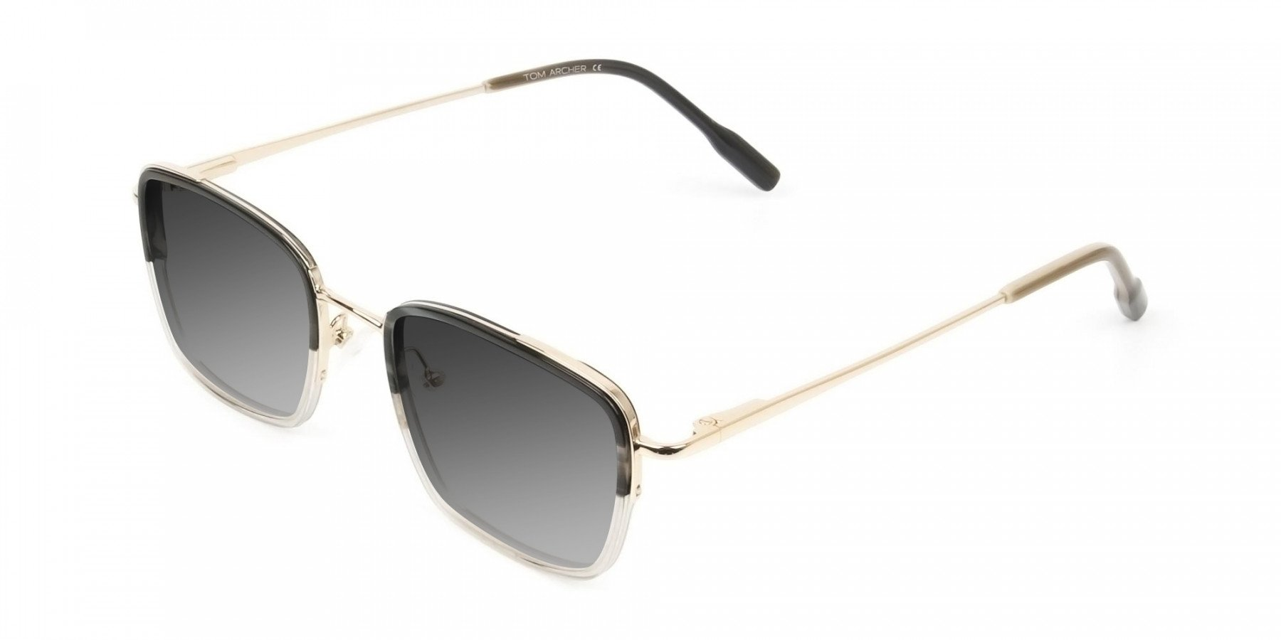 Grey Tinted Gold & Grey Square Wayfarer Sunglasses - 3