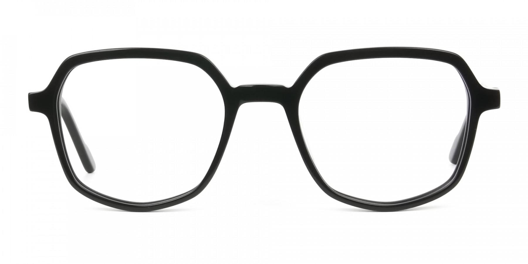 Geometric Frame Glasses in Black - 1