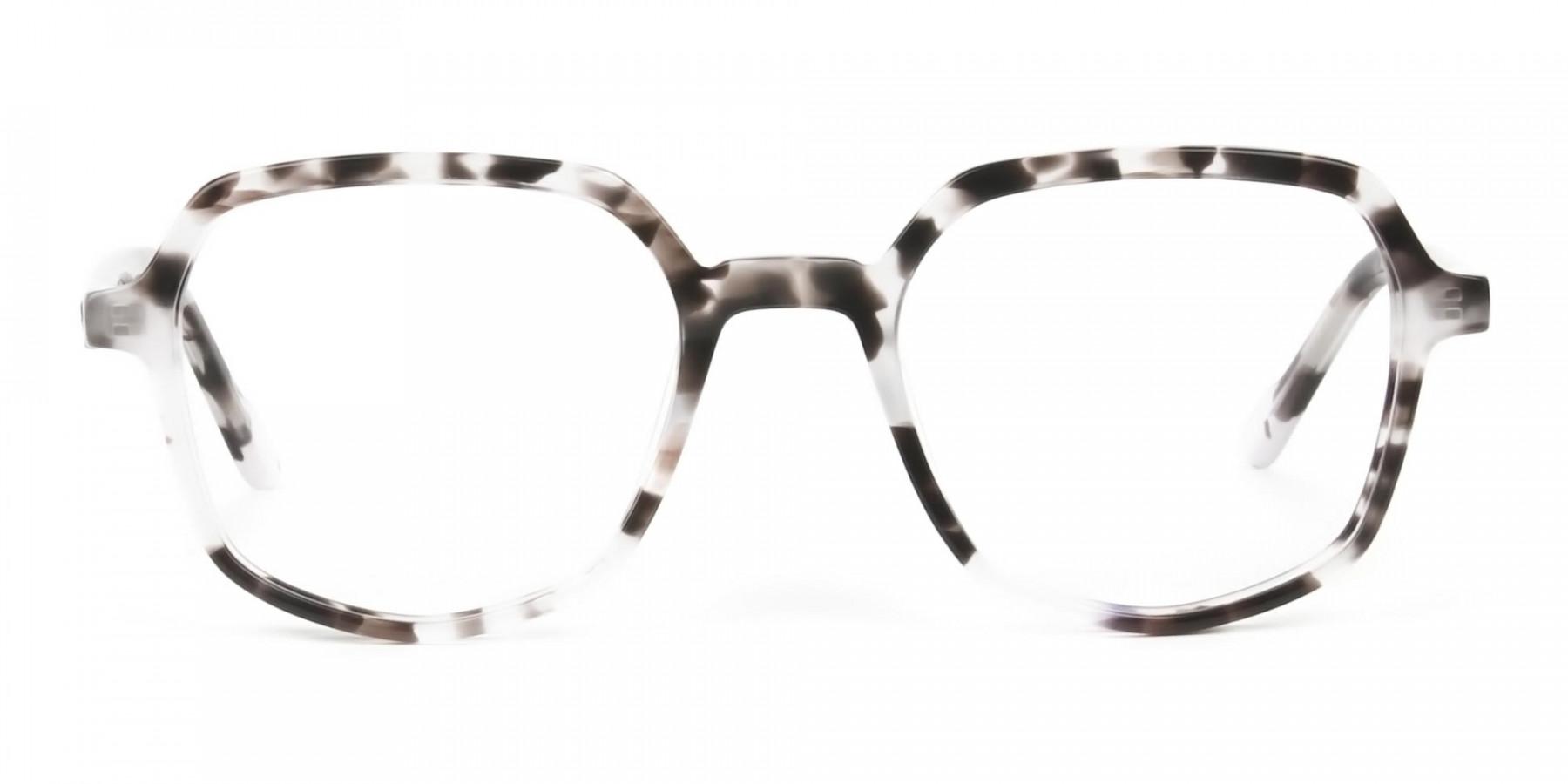 Spotty Black Heptagon Glasses - 1