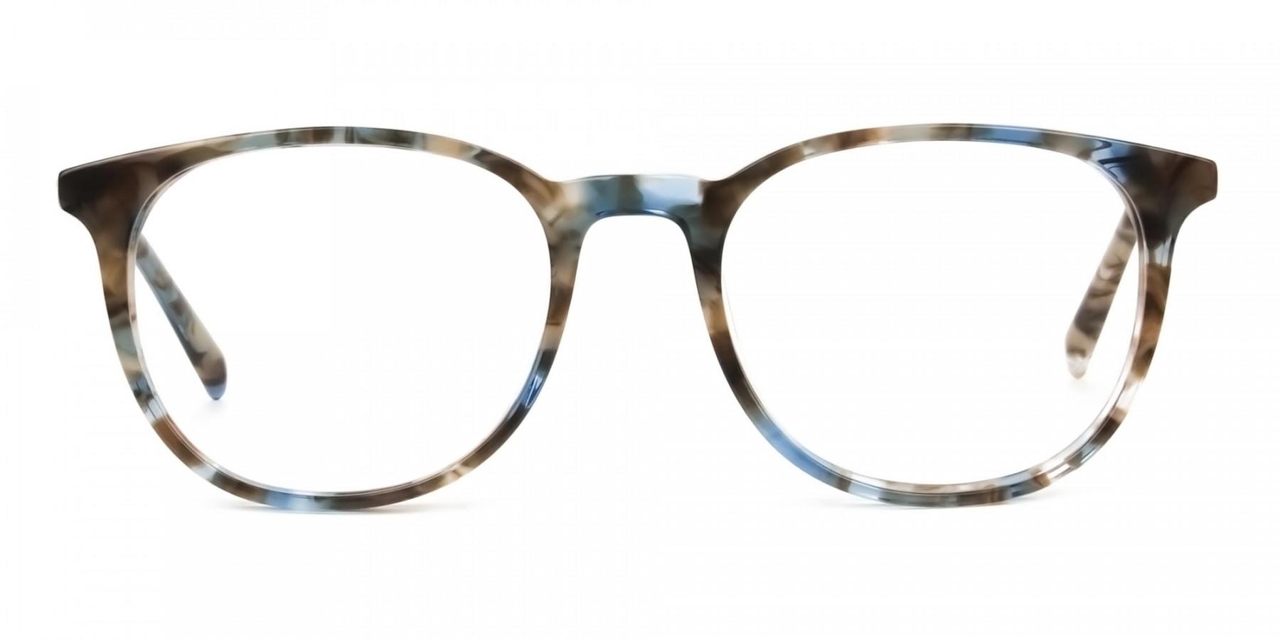 Tortoiseshell Brown and Blue Frame Glasses - 1