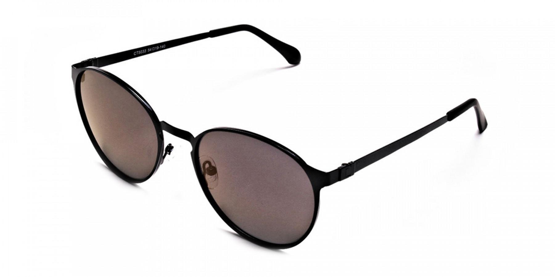 Black Purple Round Sunglasses - 2
