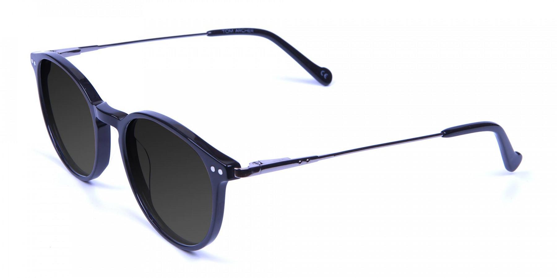 Dark Grey Sunglasses with Black Round Frame - 3