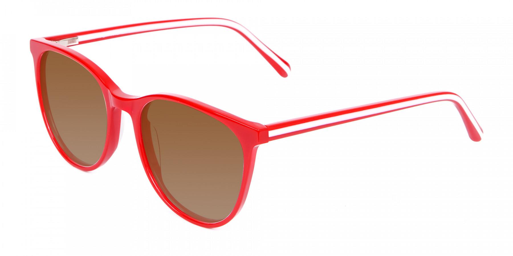 Red Grey Tint Sunglasses Men Women UK-3