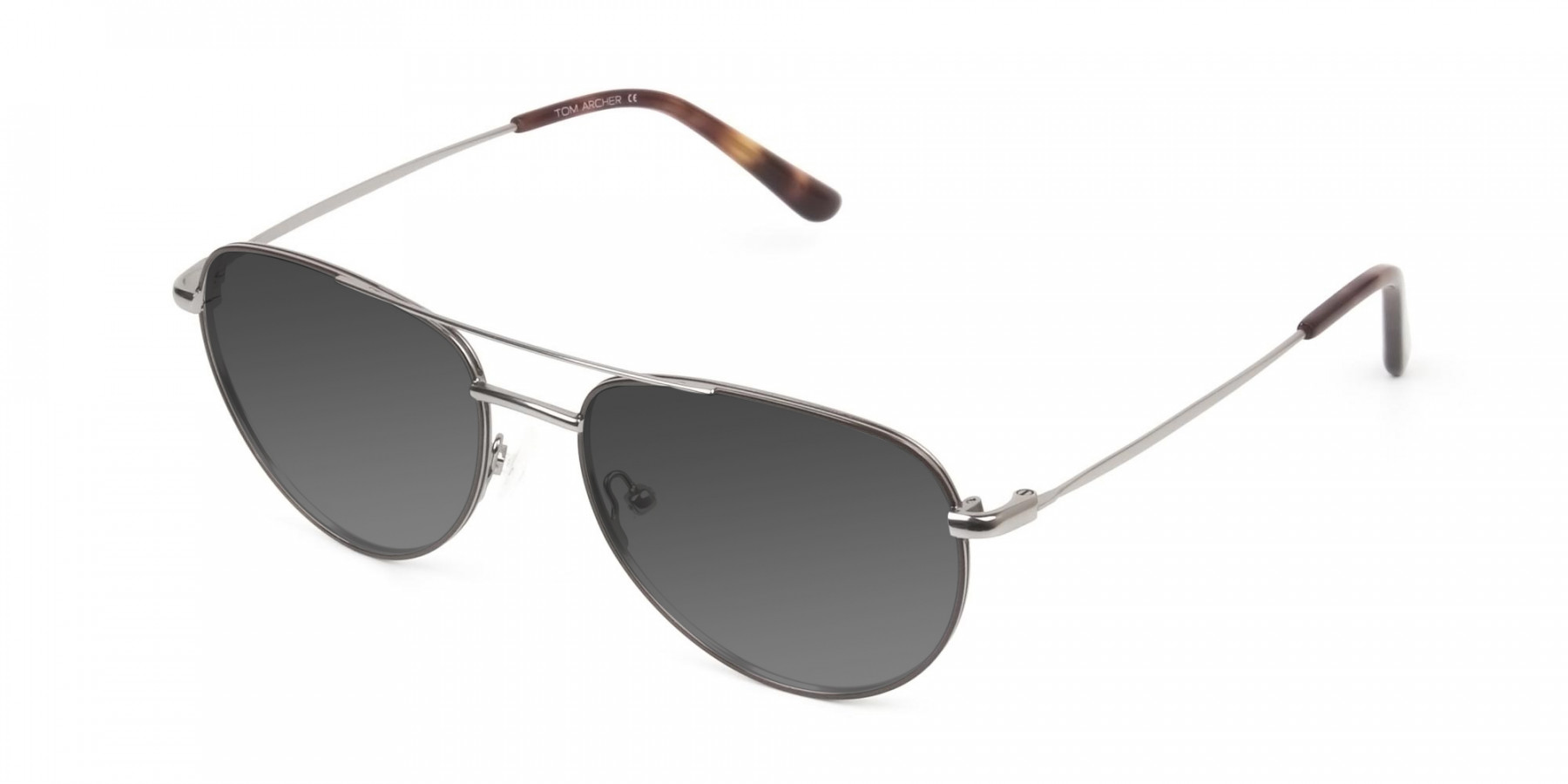 Grey Tinted Brown Gunmetal Aviator Sunglasses - 3