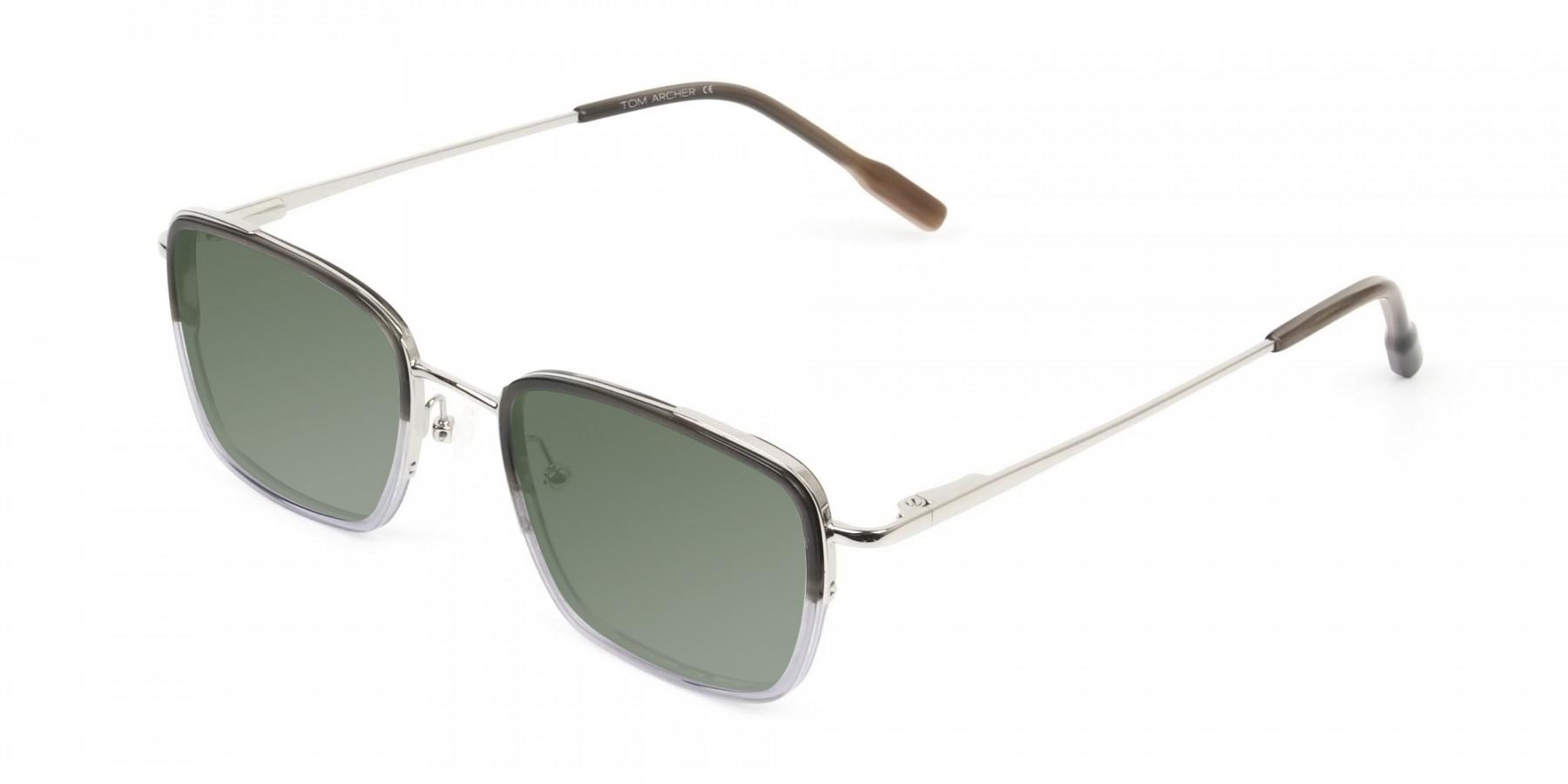 Green Tinted Charcoal Wayfarer Sunglasses - 3