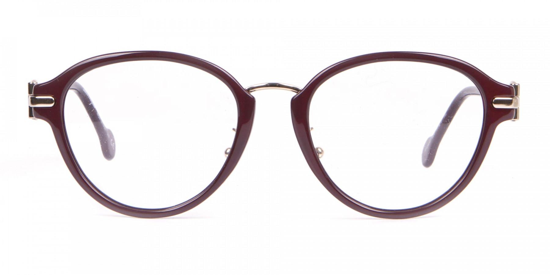 Salvatore Ferragamo SF2826 Women Round Glasses Burgundy-1
