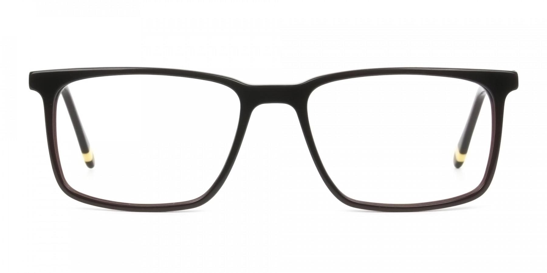 Designer Dark Brown Glasses Rectangular - 1