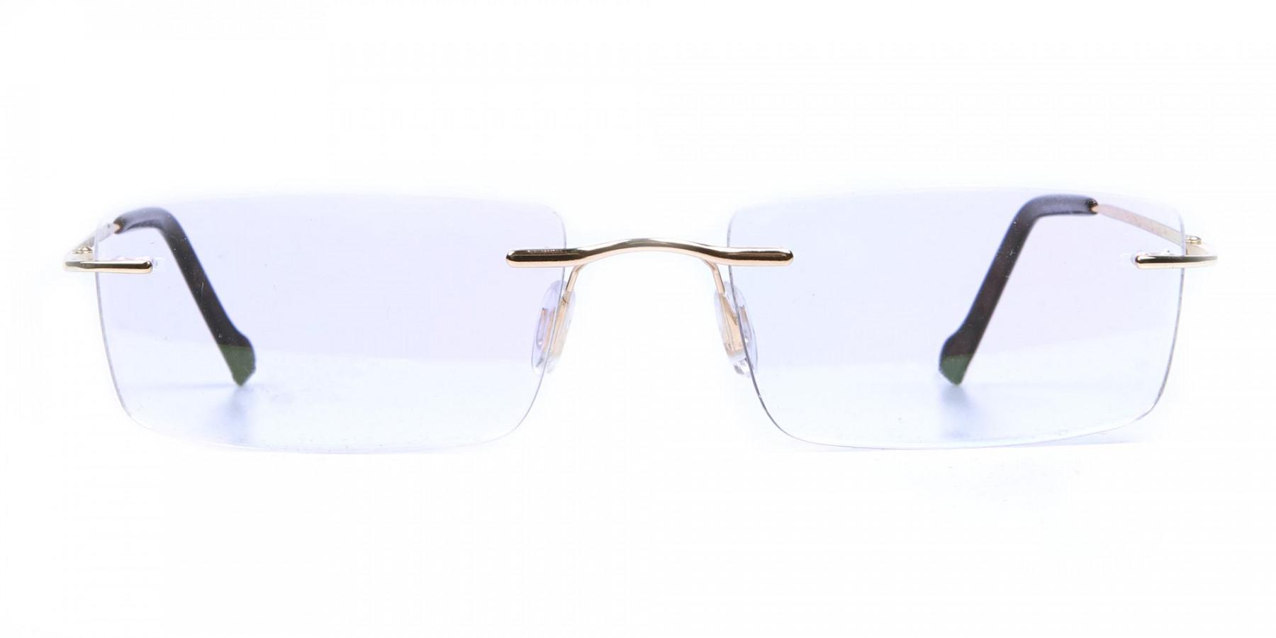 Rimless Glasses in Gold for Men & Women -1