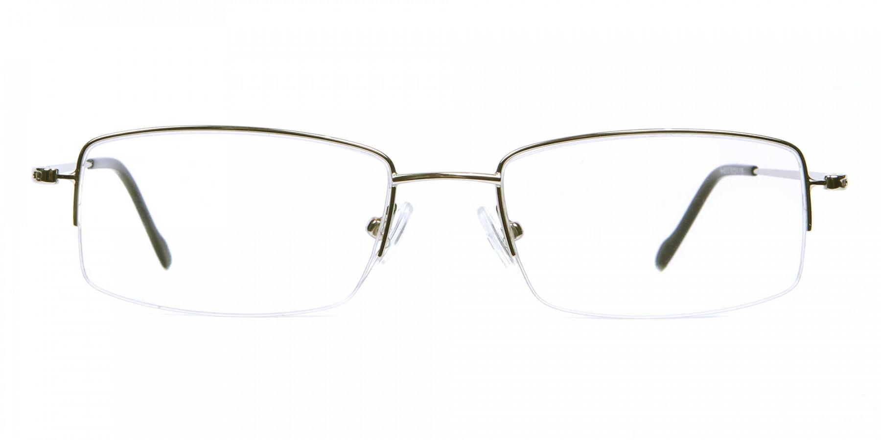 Silver Half-Rim Rectangular Glasses- 1