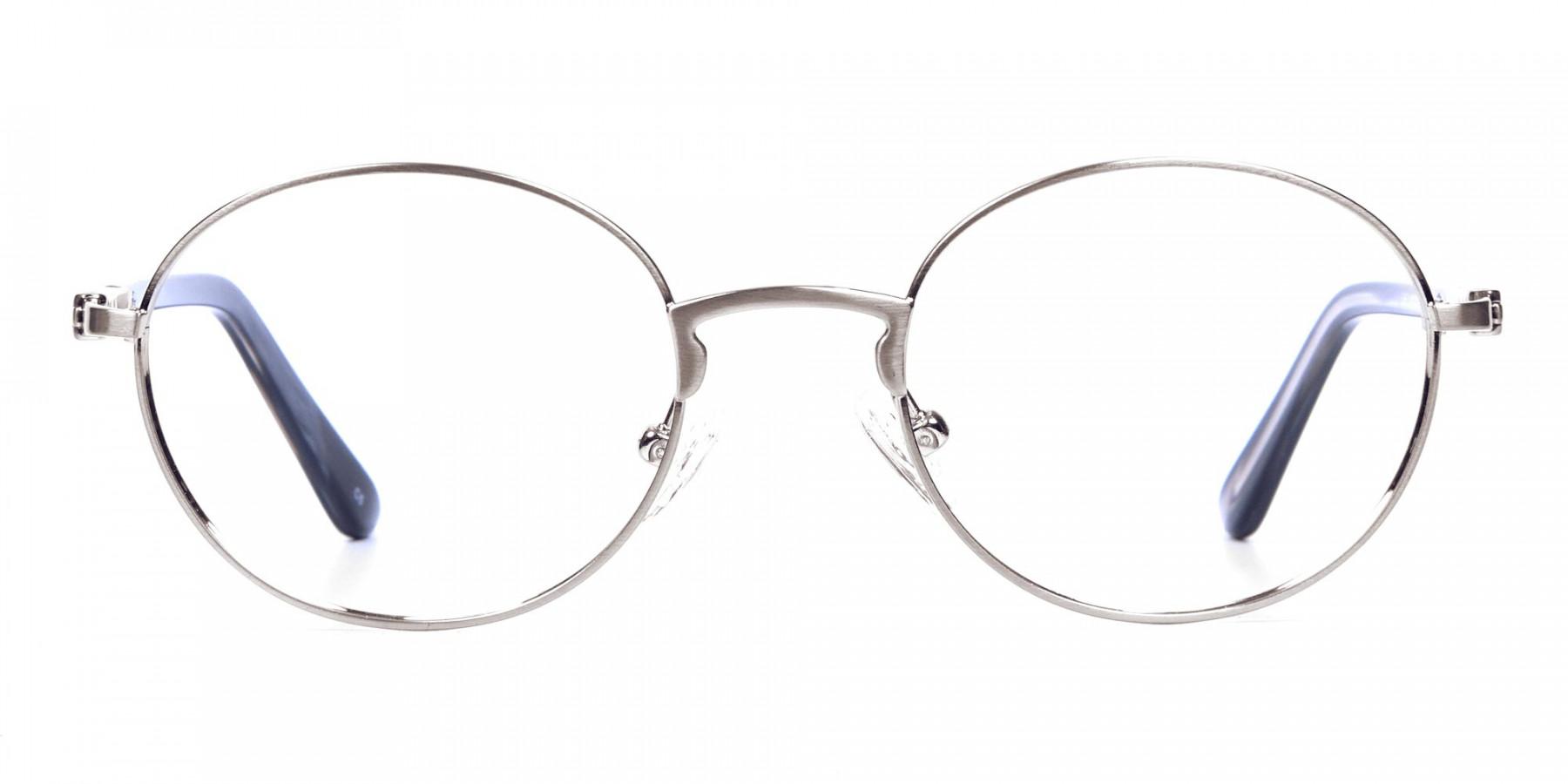 Round Glasses in Gunmetal, Eyeglasses - 1