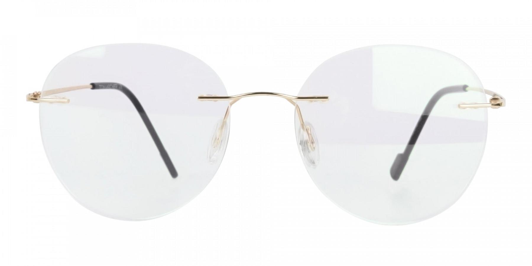 Rimless Round Glasses Gold -1