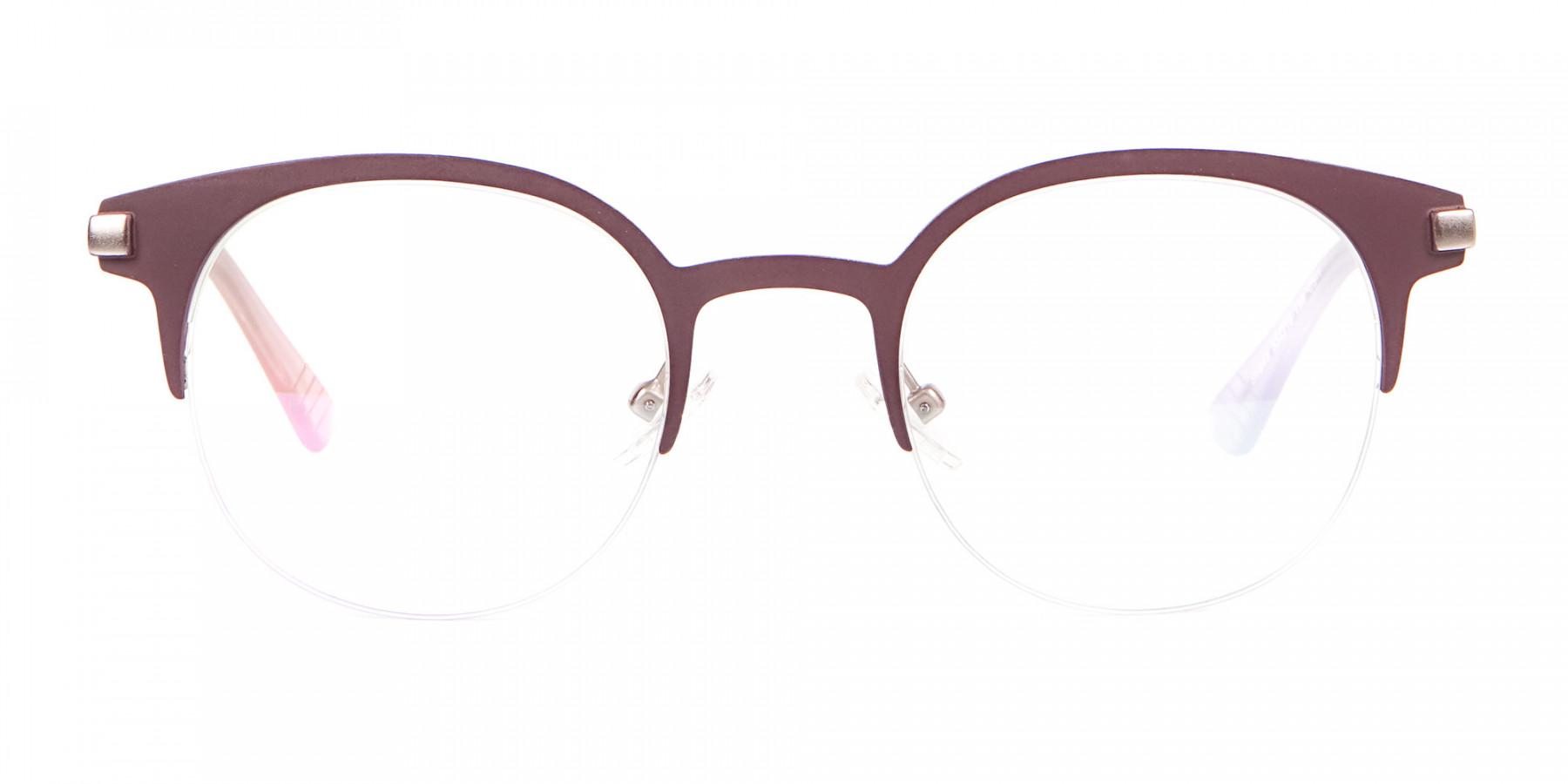 Woman 50's Retro Round Half-Rims Glasses UK-1