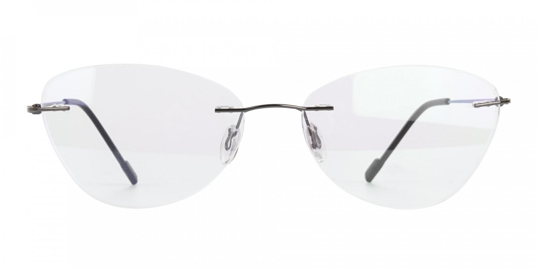 Gunmetal Rimless Cat-Eye Glasses -1