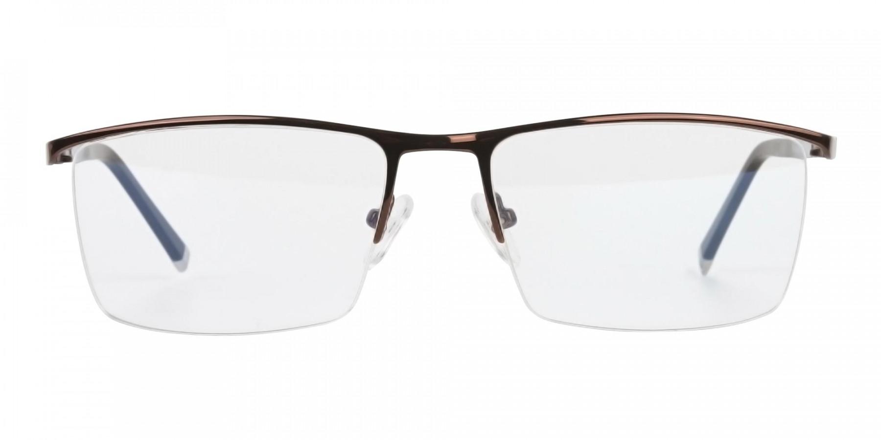 Brown and Black Semi-Rim Glasses-1