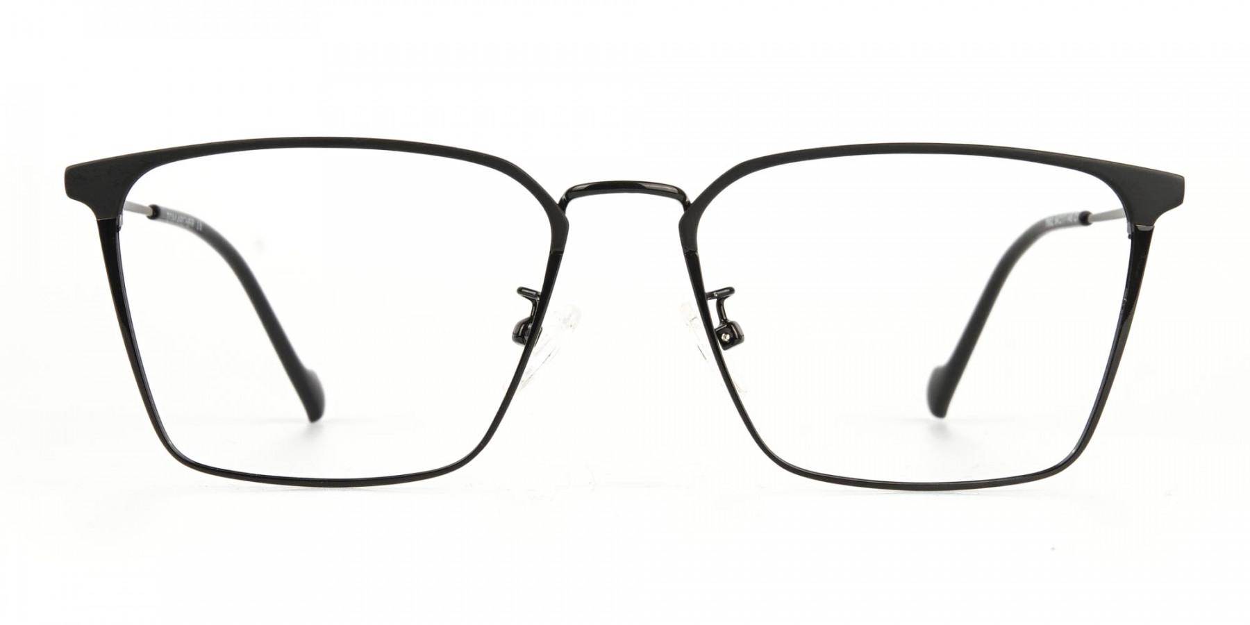Black Wayfarer Glasses in Lightweight Metal -1