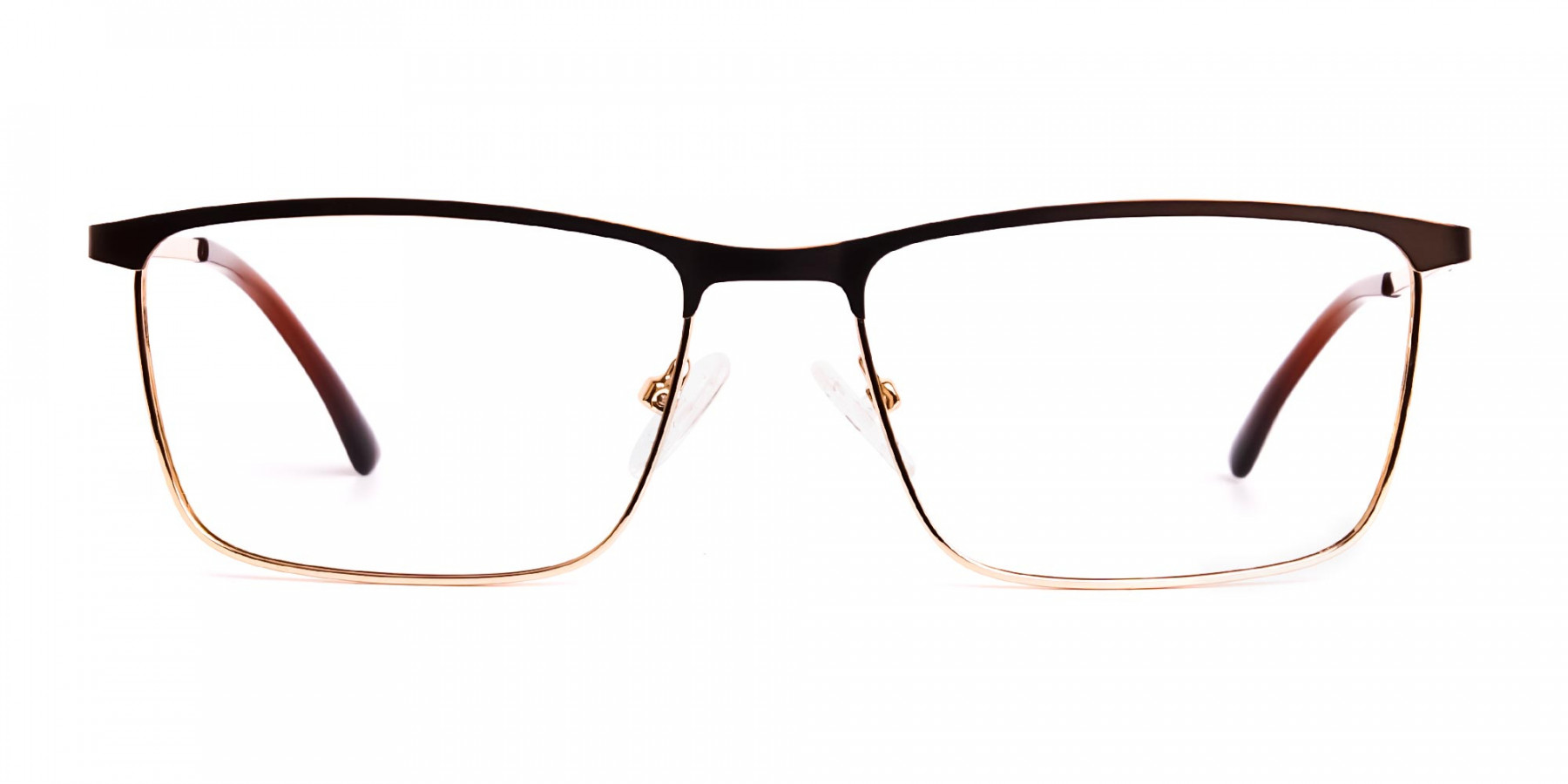 Brown & Gold Rectangular Full-Rim Glasses-1