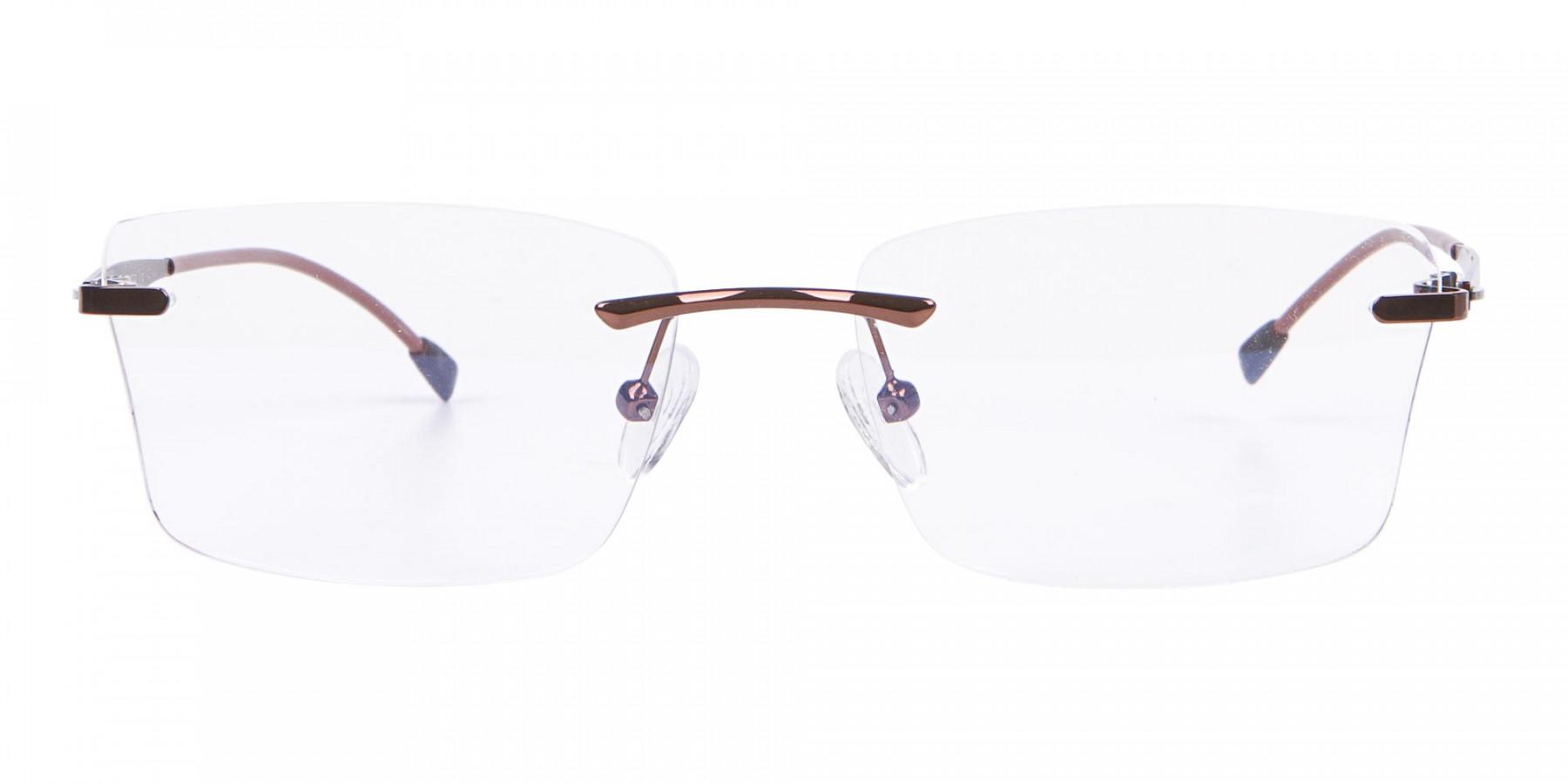 Brown Rimless Frame Free Coatings & Lenses-1
