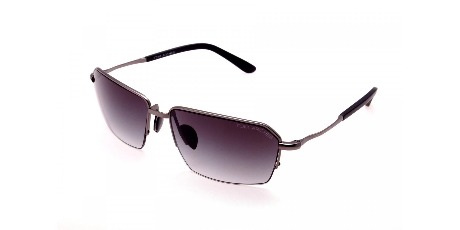 Cool Gunmetal Sunglasses in Half Rimmed Design - 2