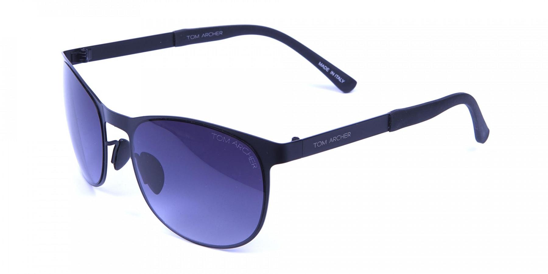 Black Round Metal Sunglasses -2