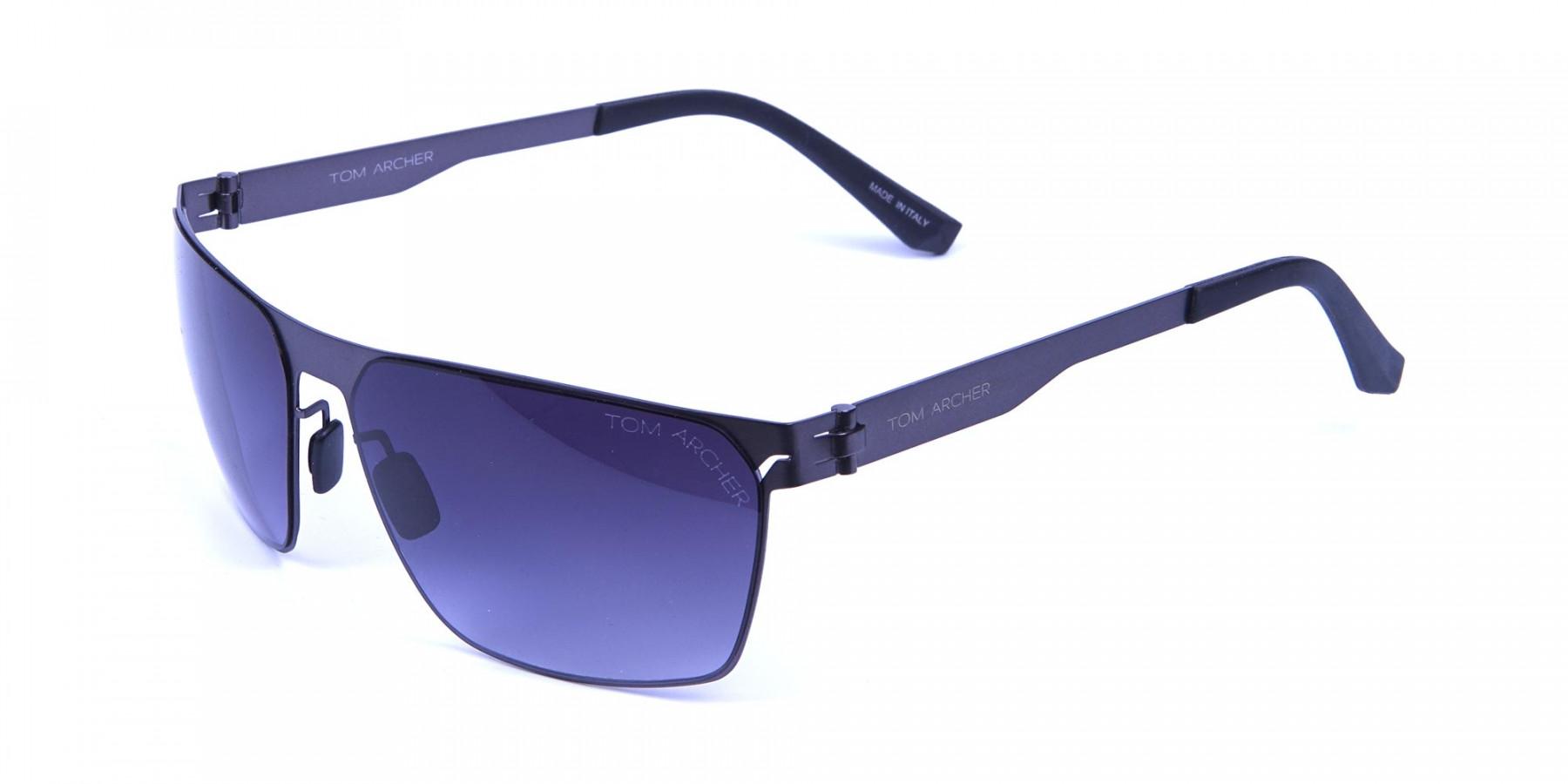 Smoky Gunmetal Rectangular Sunglasses -2