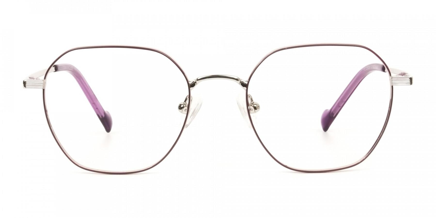 Silver Plum Purple Geometric Glasses in Hexagon Shape - 1