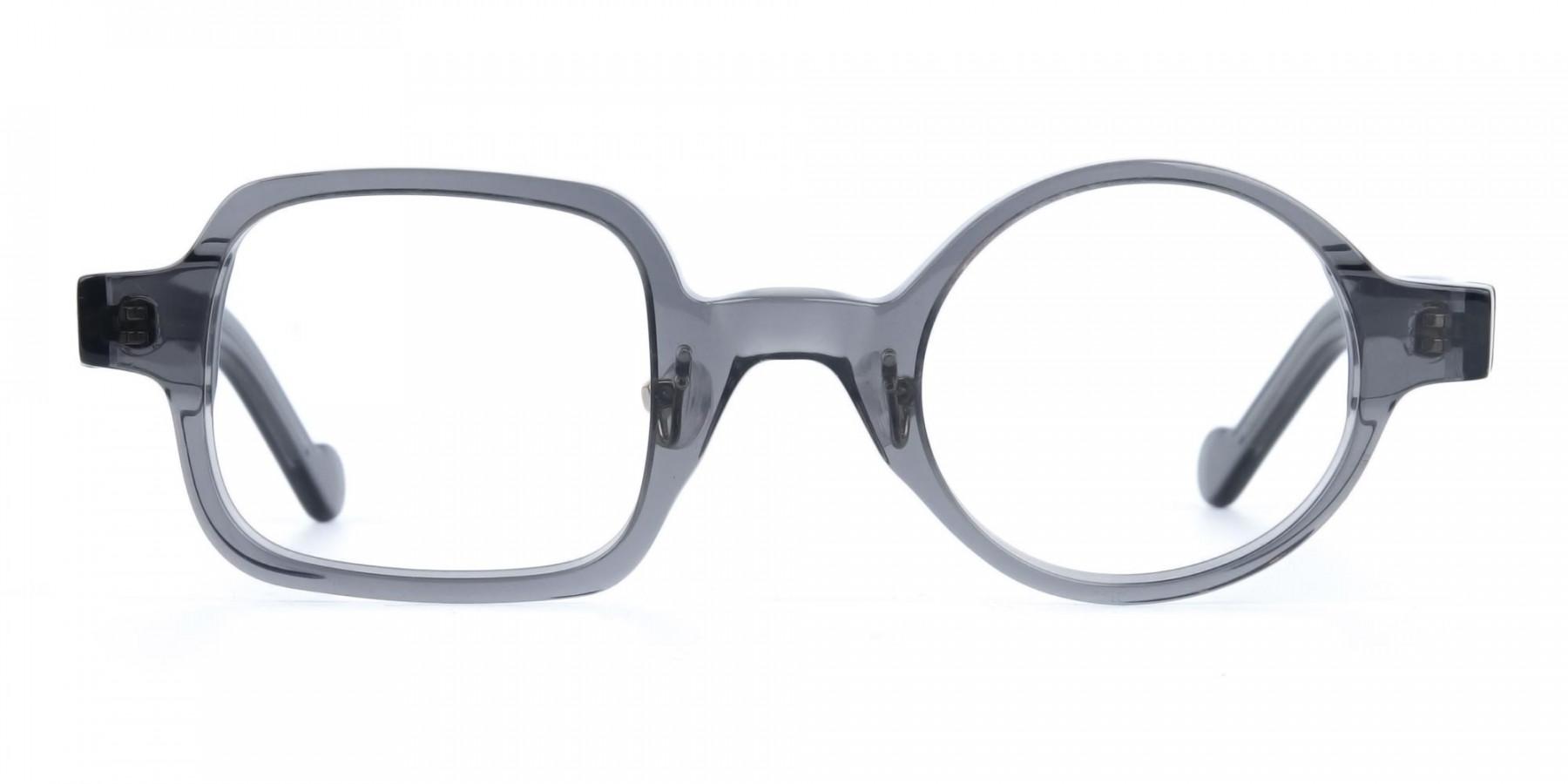 Asymmetric Round and Square Eyeglasses-1