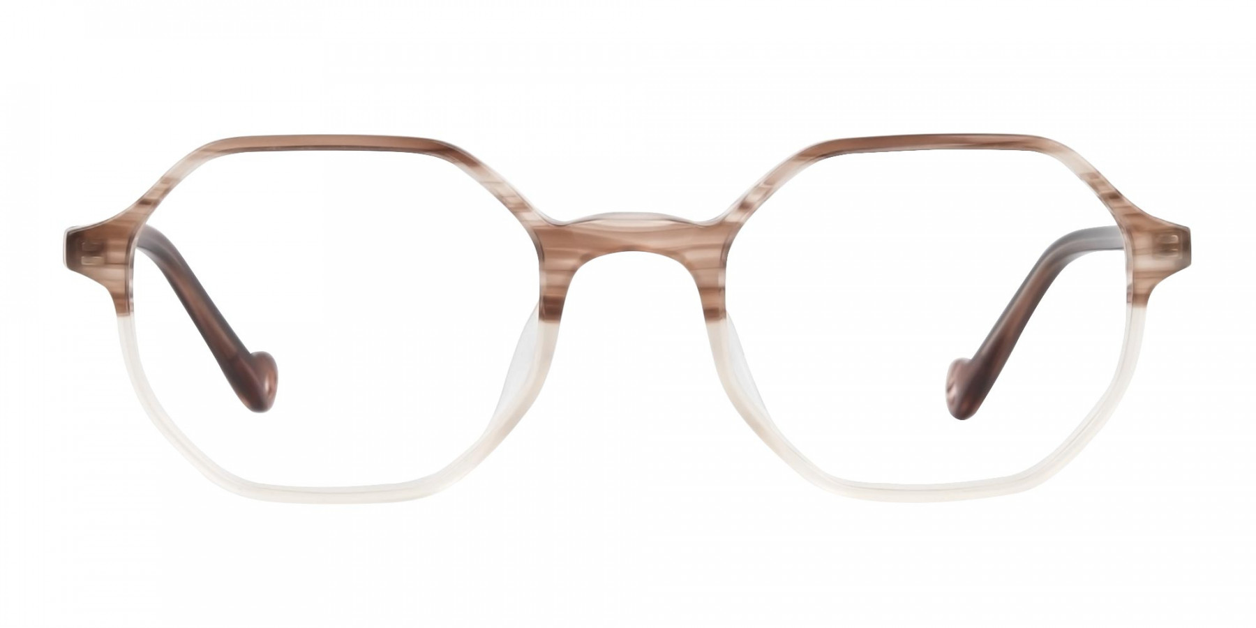 Stripe Brown & Nude Octagonal Glasses-1