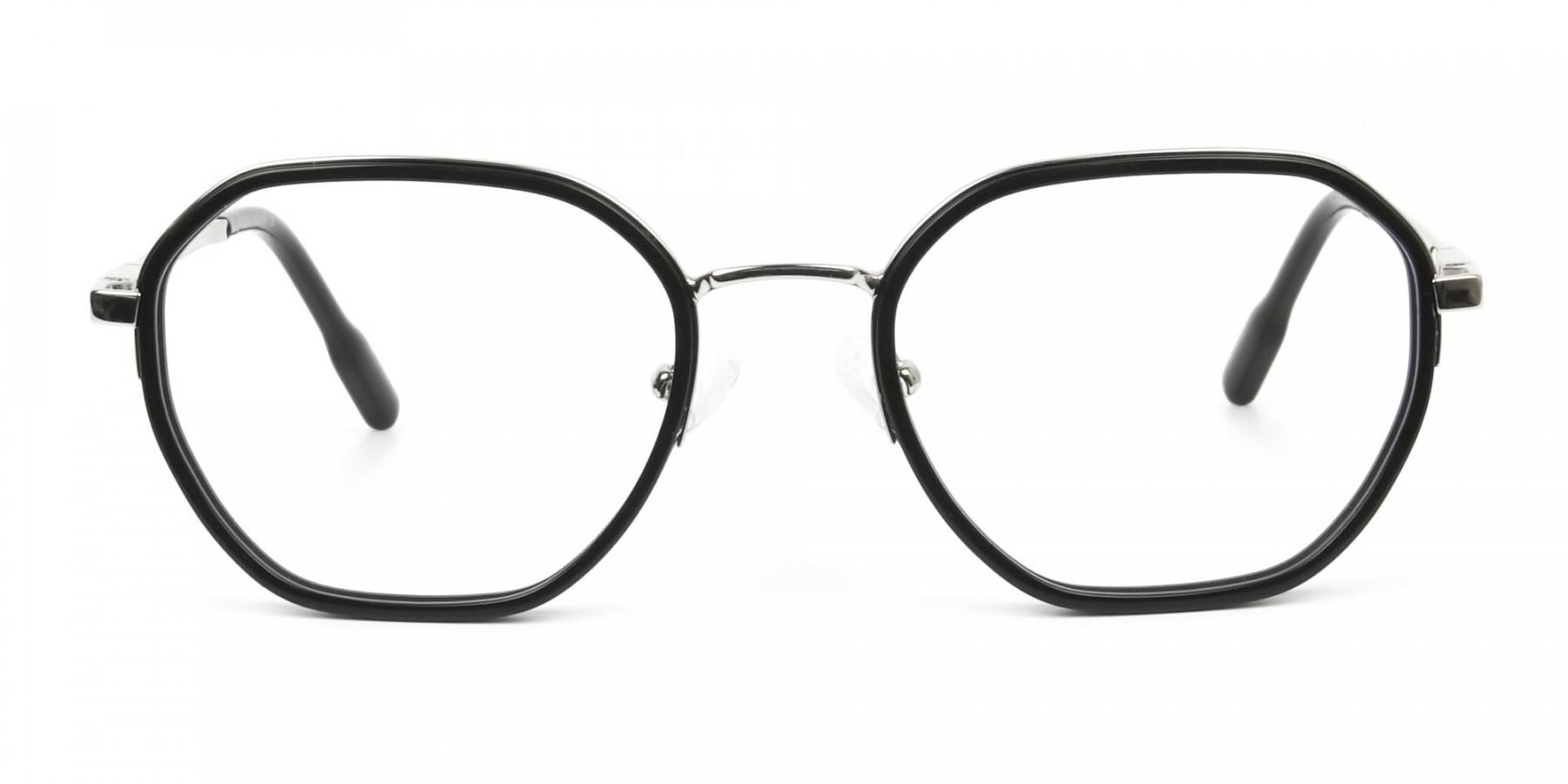 Wayfarer Black and Silver Geometric Glasses - 1