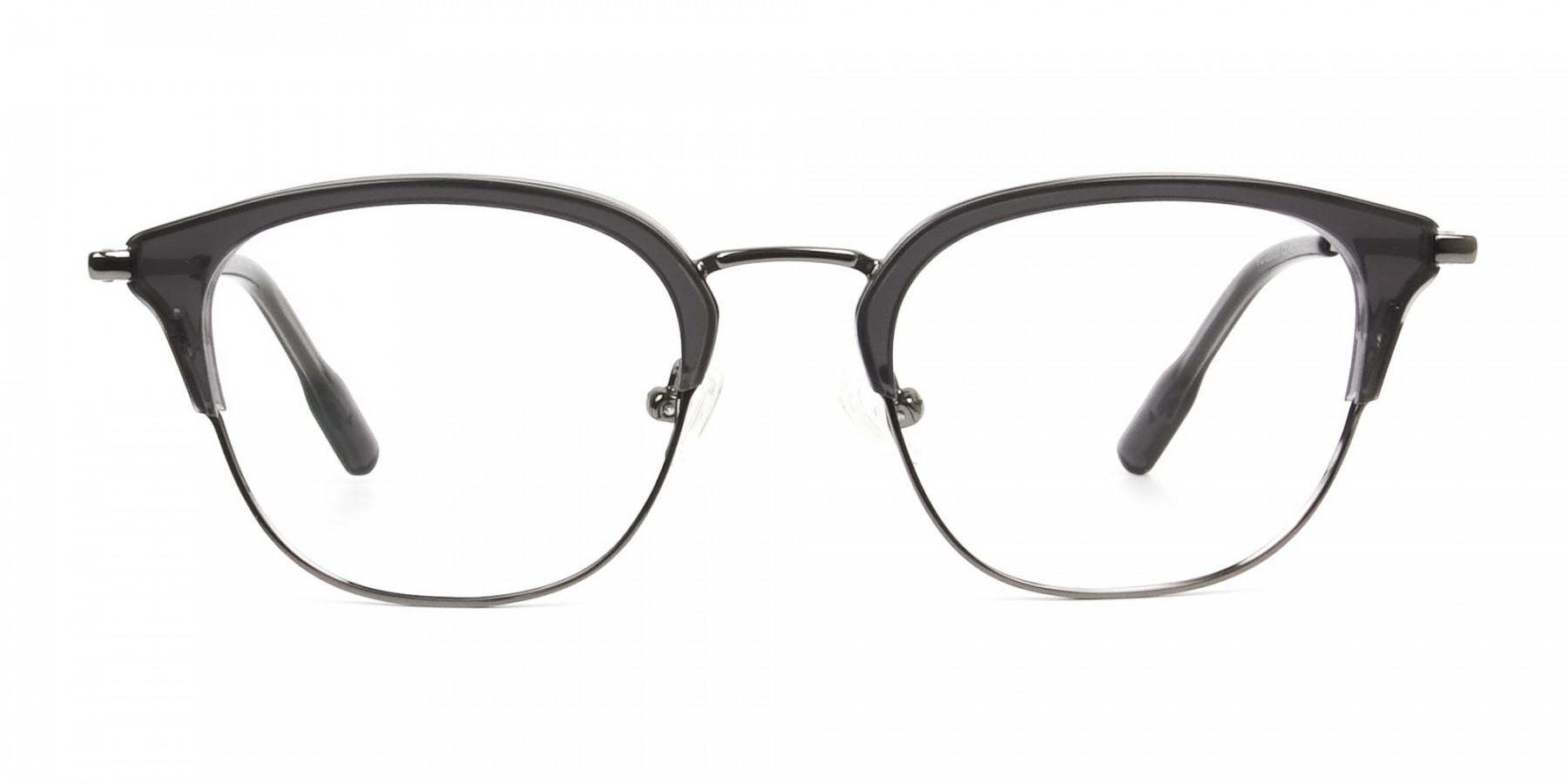 Wayfarer & Browline Gunmetal Silver Grey Translucent glasses - 1
