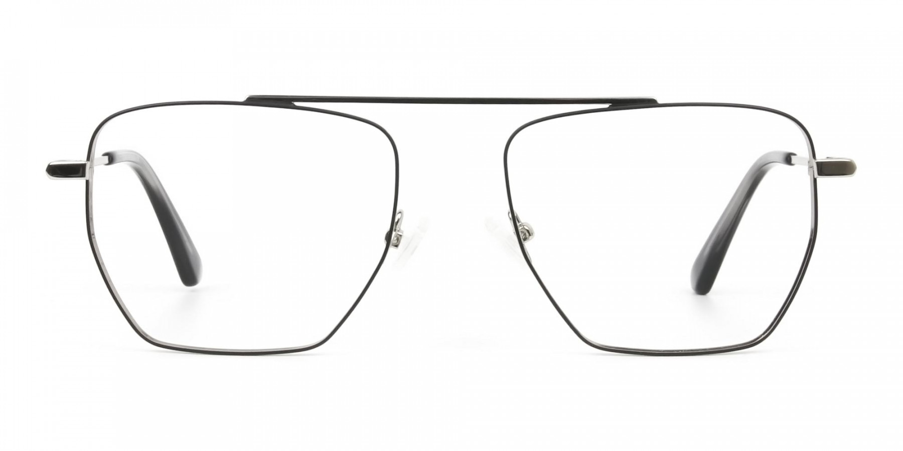 Lightweight Black and Silver Wire Frame Glasses Men Women - 1