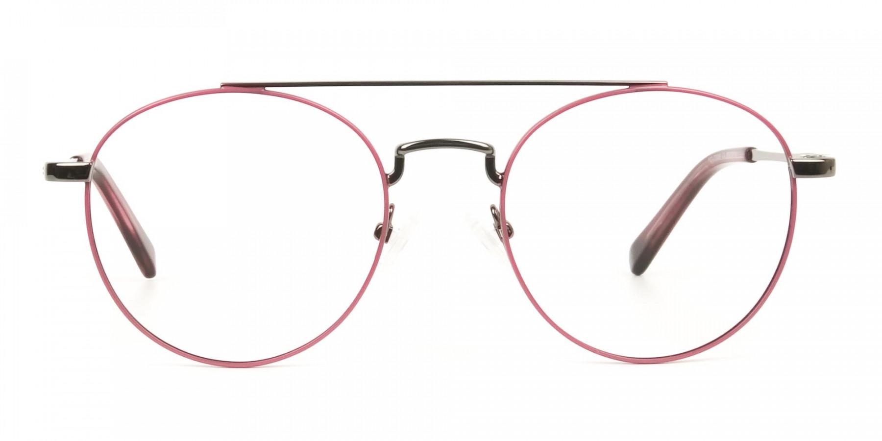 Lightweight Gunmetal & Red Round Aviator Glasses in Metal - 1