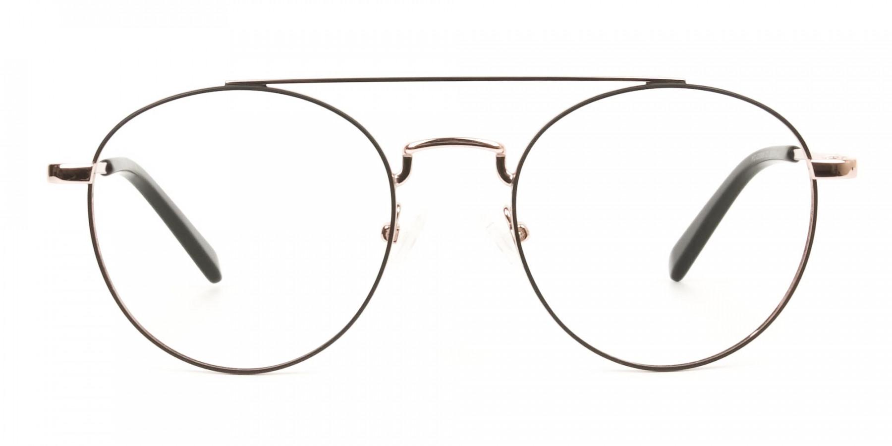 Black & Rose Gold Round Aviator Glasses - 1
