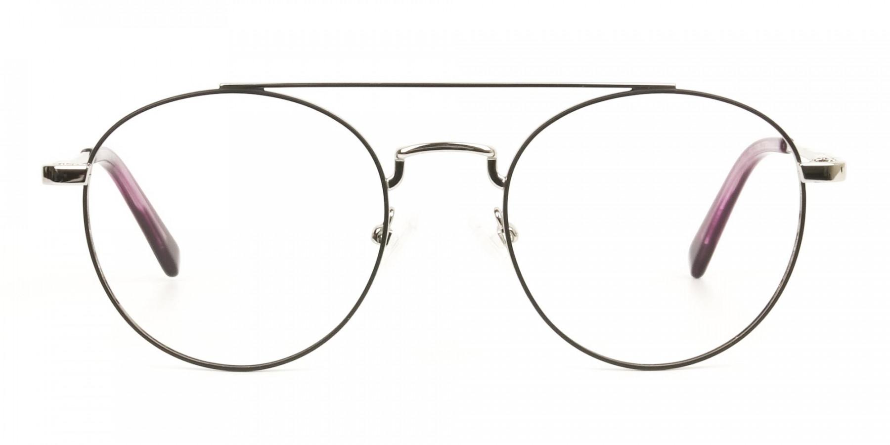 Lightweight Black & Silver Round Aviator Glasses in Metal - 1