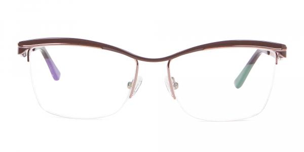 Glossy Brown Browline Half Rimmed Glasses