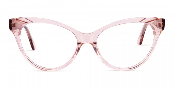 Crystal and Nude Cat Eye Glasses
