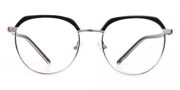 Black Silver Browline Glasses in Metal Unisex
