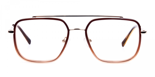 Brown and Gold Aviator Glasses
