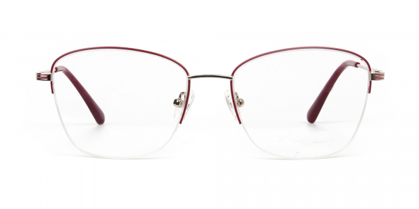 Red & Gold Half Frame Cat Eye Glasses For Women