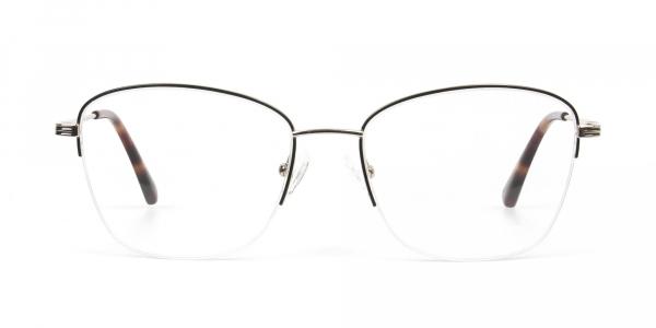 Black & Gold Half Rim Cat Eye Glasses