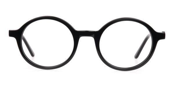 Black Round Acetate Eyeglasses Frame Unisex