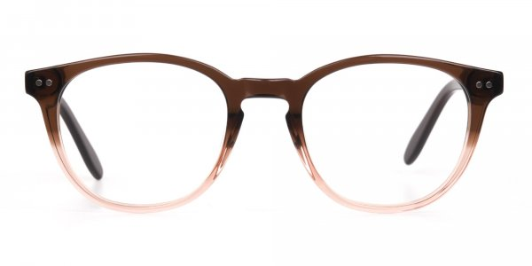 Mocha Brown & Crystal Beige Two-Tone Glasses-1