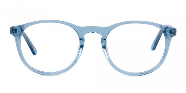 Crystal and Blue Round Glasses Frame