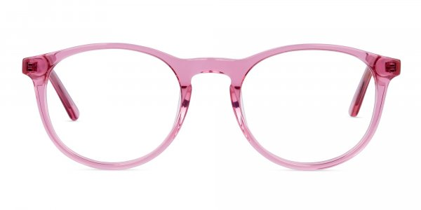 Crystal and Pink Round Glasses Frame