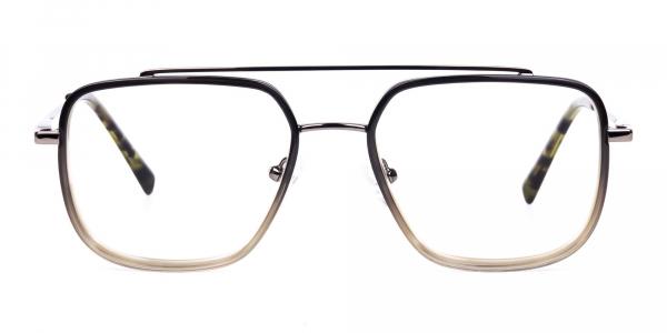 Dark Green and Silver Aviator Glasses