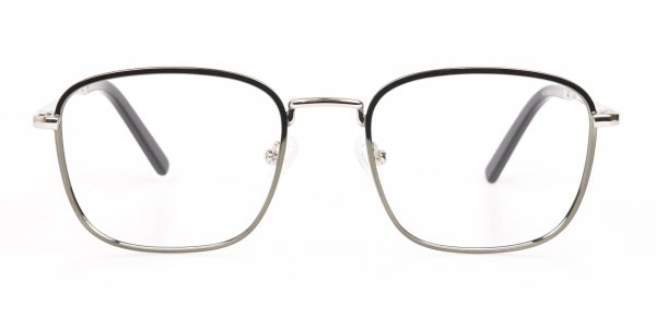 Silver Green Metal Wayfarer Glasses Frame Unisex