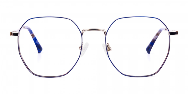 Navy Blue and Silver Geometric Glasses