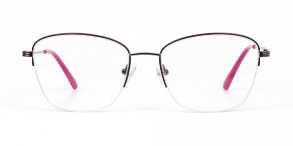 Purple Burgundy Gunmetal Half Cat Eye Glasses