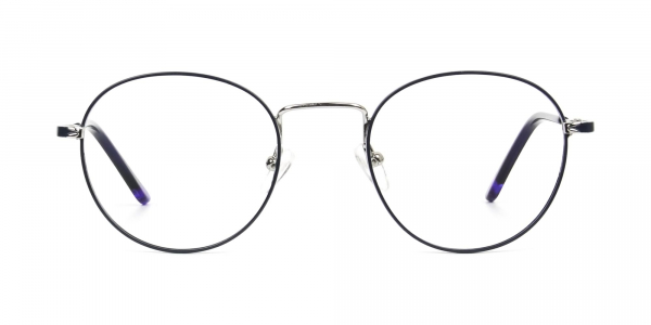 Royal Blue Silver Round Spectacles